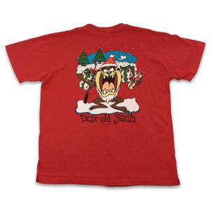 Vintage Tazmanian Devil Christmas Santa Tee 90s XL